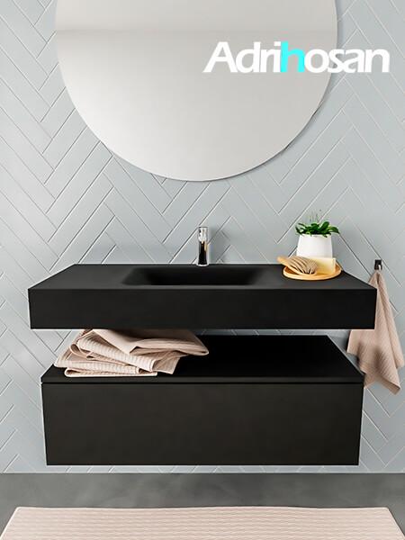 Mueble suspendido ALAN 100 cm de 1 cajón urban. Encimera con lavabo CLOUD centro 1 orificio urban
