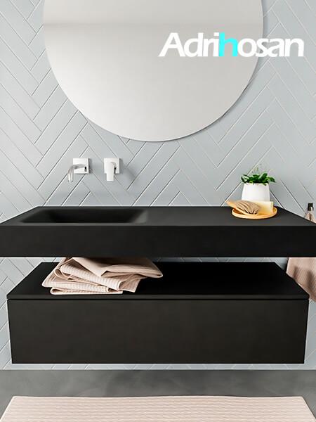 Mueble suspendido ALAN 120 cm de 1 cajón urban. Encimera con lavabo CLOUD izquierda sin orificio urban