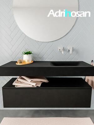 Badkamermeubel met solid surface wastafel model ALAN zwart kast matzwart front 00010 1