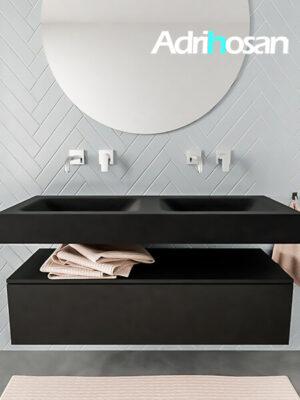 Badkamermeubel met solid surface wastafel model ALAN zwart kast matzwart front 00011 1