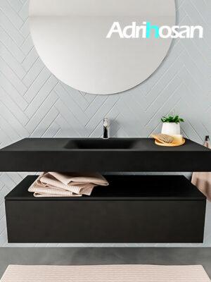 Badkamermeubel met solid surface wastafel model ALAN zwart kast matzwart front 00012 1