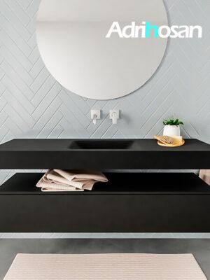 Badkamermeubel met solid surface wastafel model ALAN zwart kast matzwart front 00016 1