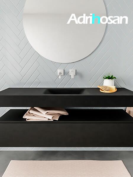 Mueble suspendido ALAN 150 cm de 1 cajón urban. Encimera con lavabo CLOUD centro sin orificio urban