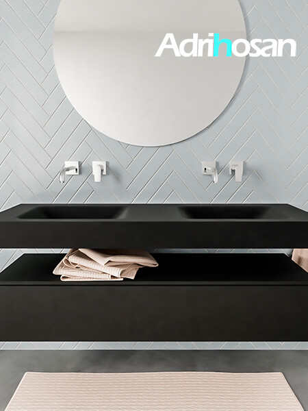 Mueble suspendido ALAN 150 cm de 1 cajón urban. Encimera con lavabo CLOUD doble sin orificio urban