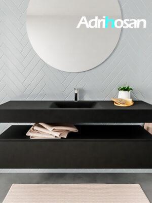Badkamermeubel met solid surface wastafel model ALAN zwart kast matzwart front 00020 1