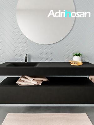 Badkamermeubel met solid surface wastafel model ALAN zwart kast matzwart front 00021 1