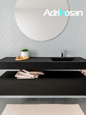 Badkamermeubel met solid surface wastafel model ALAN zwart kast matzwart front 00022 1