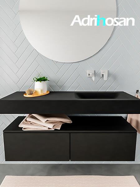 Mueble suspendido ALAN 120 cm de 2 cajones urban. Encimera con lavabo CLOUD derecha sin orificio urban