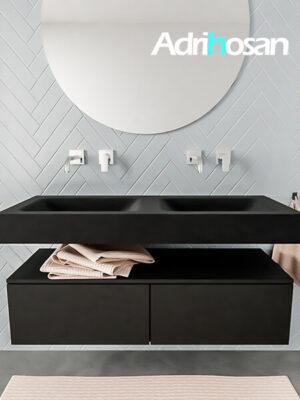 Badkamermeubel met solid surface wastafel model ALAN zwart kast matzwart front 00027 1