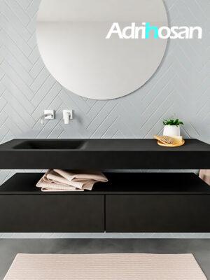 Badkamermeubel met solid surface wastafel model ALAN zwart kast matzwart front 00033 1