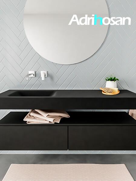 Mueble suspendido ALAN 150 cm de 2 cajones urban. Encimera con lavabo CLOUD izquierda sin orificio urban
