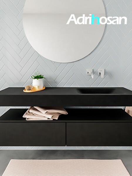 Mueble suspendido ALAN 150 cm de 2 cajones urban. Encimera con lavabo CLOUD derecha sin orificio urban