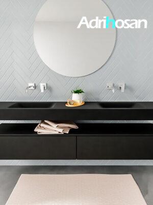 Badkamermeubel met solid surface wastafel model ALAN zwart kast matzwart front 00043 1