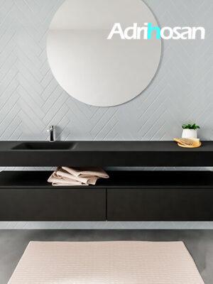 Badkamermeubel met solid surface wastafel model ALAN zwart kast matzwart front 00045 1