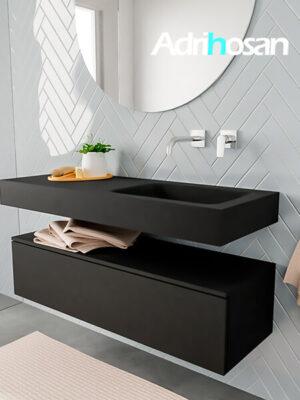 Badkamermeubel met solid surface wastafel model ALAN zwart kast matzwart side 00010 1