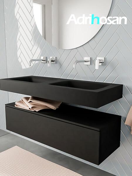 Badkamermeubel met solid surface wastafel model ALAN zwart kast matzwart side 00011 1