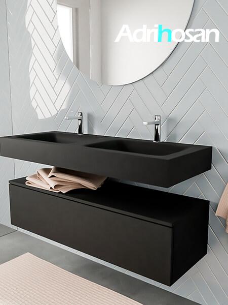 Badkamermeubel met solid surface wastafel model ALAN zwart kast matzwart side 00015 1