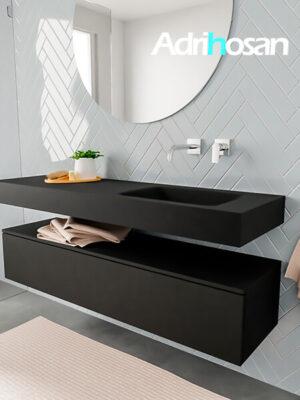 Badkamermeubel met solid surface wastafel model ALAN zwart kast matzwart side 00018 1