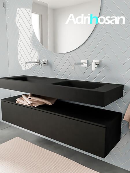 Badkamermeubel met solid surface wastafel model ALAN zwart kast matzwart side 00019 1