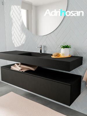 Badkamermeubel met solid surface wastafel model ALAN zwart kast matzwart side 00020 1