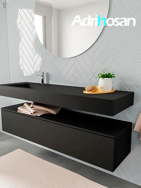 Badkamermeubel met solid surface wastafel model ALAN zwart kast matzwart side 00021 1
