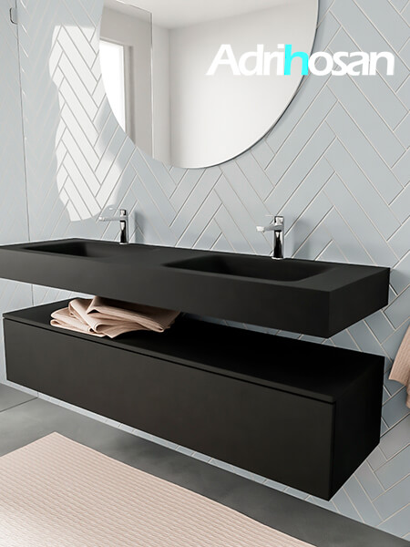 Badkamermeubel met solid surface wastafel model ALAN zwart kast matzwart side 00023 1