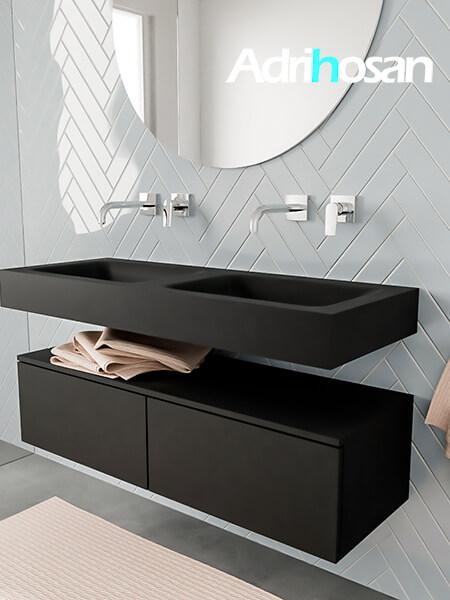 Badkamermeubel met solid surface wastafel model ALAN zwart kast matzwart side 00027 1
