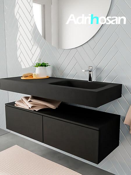 Badkamermeubel met solid surface wastafel model ALAN zwart kast matzwart side 00030 1