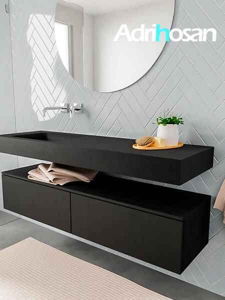 Badkamermeubel met solid surface wastafel model ALAN zwart kast matzwart side 00033 1