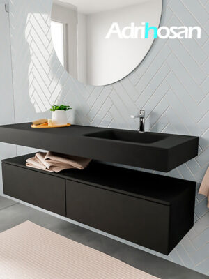 Badkamermeubel met solid surface wastafel model ALAN zwart kast matzwart side 00038 1
