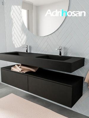 Badkamermeubel met solid surface wastafel model ALAN zwart kast matzwart side 00039 1