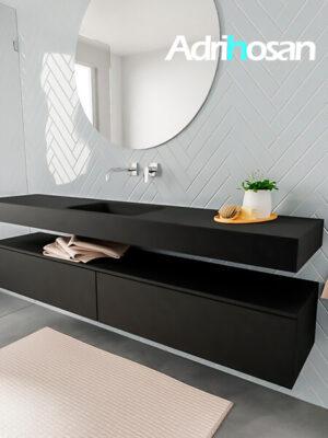 Badkamermeubel met solid surface wastafel model ALAN zwart kast matzwart side 00040 1
