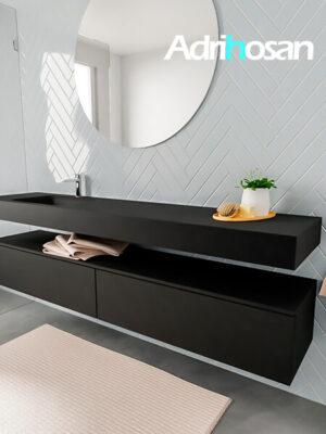 Badkamermeubel met solid surface wastafel model ALAN zwart kast matzwart side 00045 1