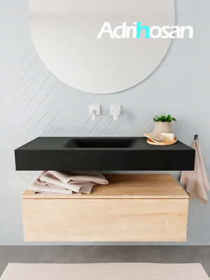 Badkamermeubel met solid surface wastafel model ALAN zwart kast washedoak front 00002 1