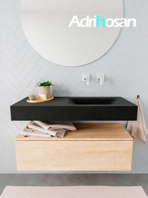 Badkamermeubel met solid surface wastafel model ALAN zwart kast washedoak front 00004 1