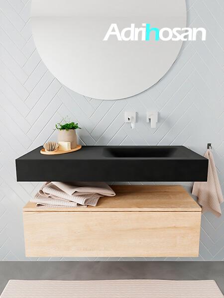 Mueble suspendido ALAN 100 cm de 1 cajón roble lavabo. Encimera con lavabo CLOUD derecha sin orificio urban