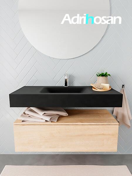 Badkamermeubel met solid surface wastafel model ALAN zwart kast washedoak front 00005 1