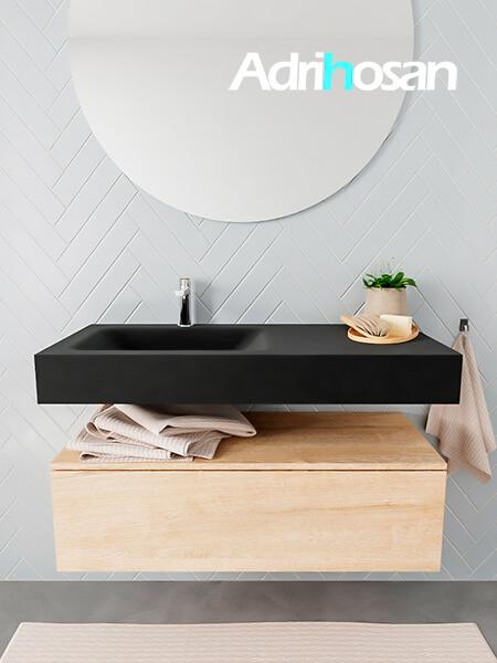 Mueble suspendido ALAN 100 cm de 1 cajón roble lavabo. Encimera con lavabo CLOUD izquierda 1 orificio urban