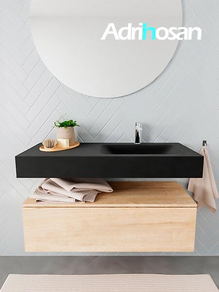 Mueble suspendido ALAN 100 cm de 1 cajón roble lavabo. Encimera con lavabo CLOUD derecha 1 orificio urban