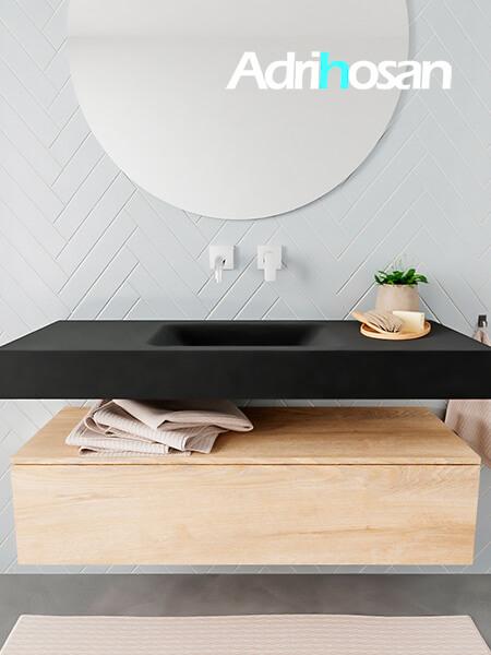 Badkamermeubel met solid surface wastafel model ALAN zwart kast washedoak front 00008 1