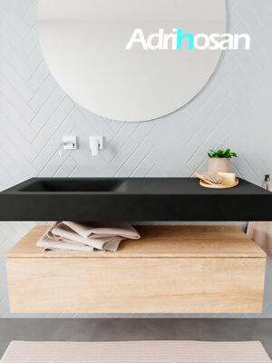 Badkamermeubel met solid surface wastafel model ALAN zwart kast washedoak front 00009 1