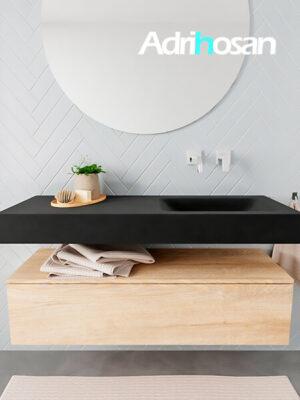 Badkamermeubel met solid surface wastafel model ALAN zwart kast washedoak front 00010 1