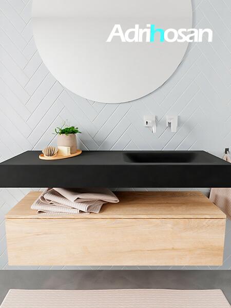 Mueble suspendido ALAN 120 cm de 1 cajón roble lavabo. Encimera con lavabo CLOUD derecha sin orificio urban