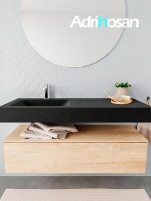 Badkamermeubel met solid surface wastafel model ALAN zwart kast washedoak front 00013 1