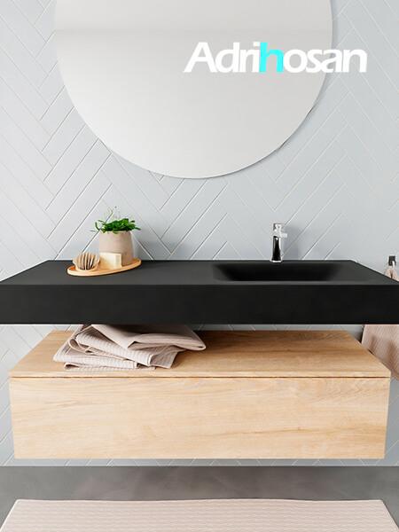 Mueble suspendido ALAN 120 cm de 1 cajón roble lavabo. Encimera con lavabo CLOUD derecha 1 orificio urban