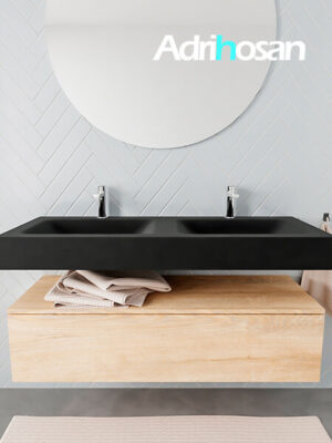 Badkamermeubel met solid surface wastafel model ALAN zwart kast washedoak front 00015 1