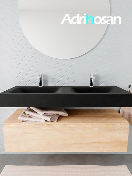 Mueble suspendido ALAN 120 cm de 1 cajón roble lavabo. Encimera con lavabo CLOUD doble 2 orificios urban