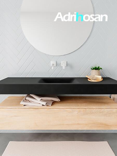 Mueble suspendido ALAN 150 cm de 1 cajón roble lavabo. Encimera con lavabo CLOUD centro sin orificio urban