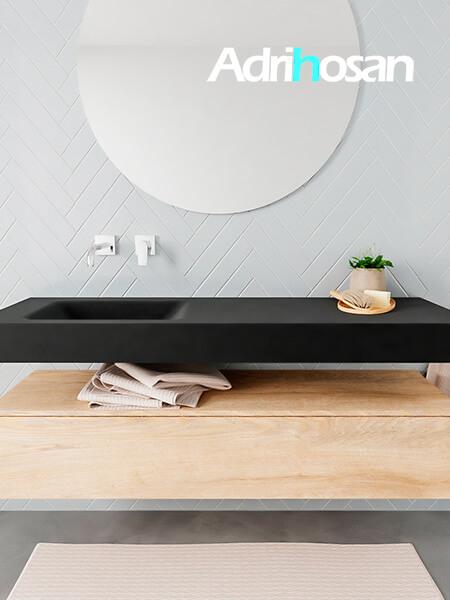 Badkamermeubel met solid surface wastafel model ALAN zwart kast washedoak front 00017 1