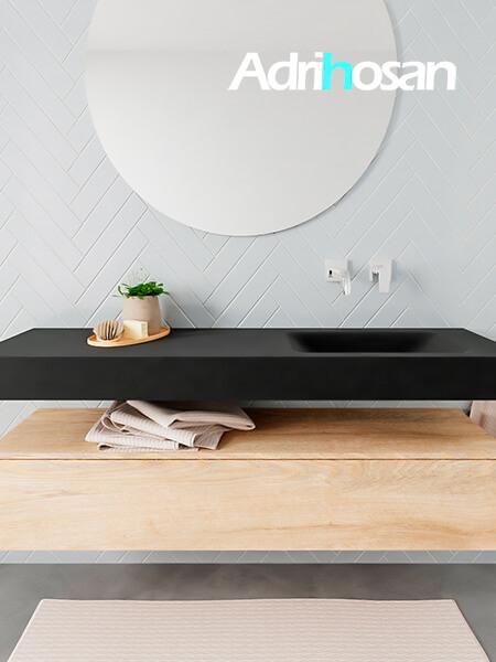 Mueble suspendido ALAN 150 cm de 1 cajón roble lavabo. Encimera con lavabo CLOUD derecha sin orificio urban